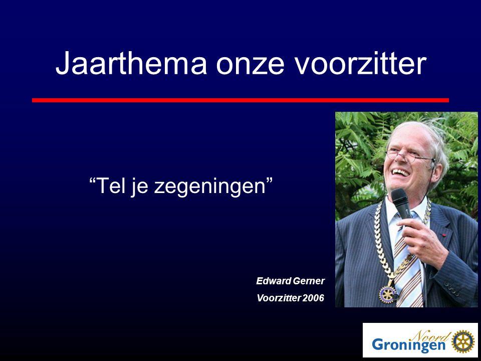 Jaarthema onze voorzitter Tel je zegeningen Edward Gerner Voorzitter 2006