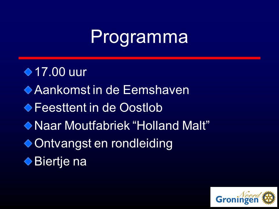 Programma 17.00 uur Aankomst in de Eemshaven Feesttent in de Oostlob Naar Moutfabriek Holland Malt Ontvangst en rondleiding Biertje na