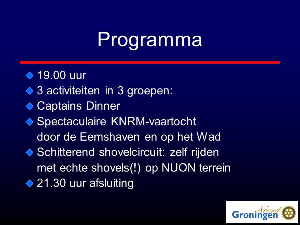 Programma 19.00 uur 3 activiteiten in 3 groepen: Captains Dinner Spectaculaire KNRM-vaartocht door de Eemshaven en op het Wad Schitterend shovelcircuit: zelf rijden met echte shovels(!) op NUON terrein 21.30 uur afsluiting