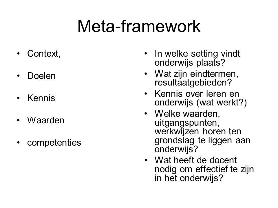 Meta-framework Context, Doelen Kennis Waarden competenties In welke setting vindt onderwijs plaats.