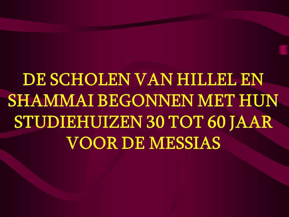 DE SCHOLEN VAN HILLEL EN SHAMMAI BEGONNEN MET HUN STUDIEHUIZEN 30 TOT 60 JAAR VOOR DE MESSIAS