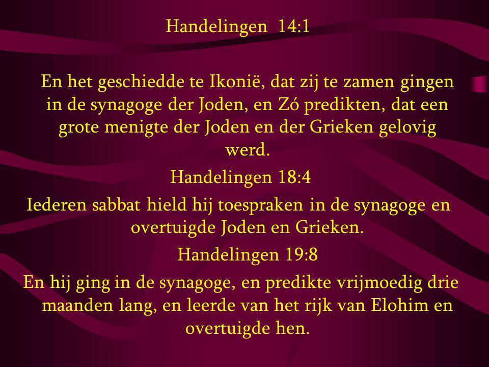 Handelingen 14:1 En het geschiedde te Ikonië, dat zij te zamen gingen in de synagoge der Joden, en Zó predikten, dat een grote menigte der Joden en de