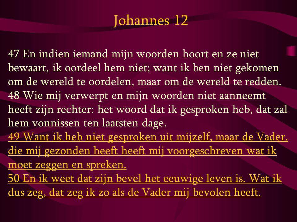 Johannes 12 47 En indien iemand mijn woorden hoort en ze niet bewaart, ik oordeel hem niet; want ik ben niet gekomen om de wereld te oordelen, maar om