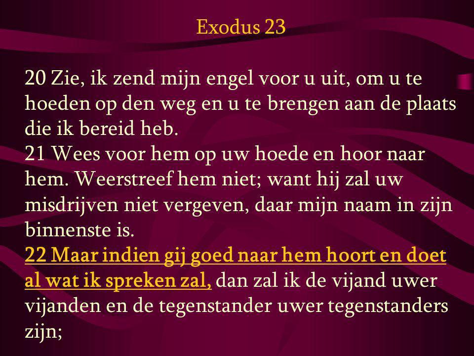 Exodus 23 20 Zie, ik zend mijn engel voor u uit, om u te hoeden op den weg en u te brengen aan de plaats die ik bereid heb. 21 Wees voor hem op uw hoe