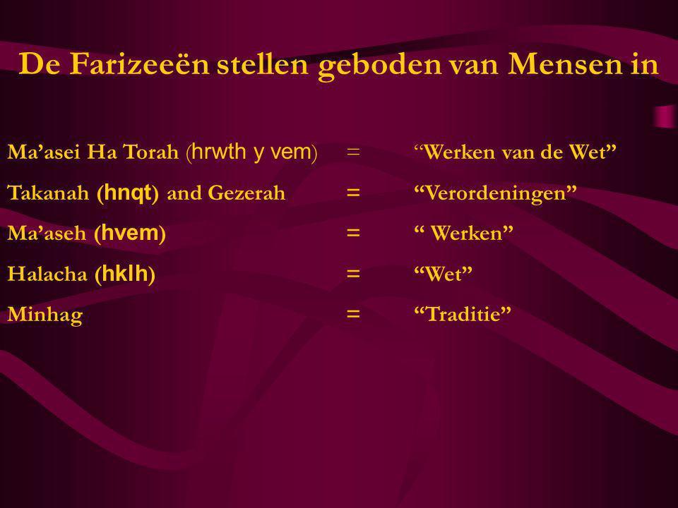 """De Farizeeën stellen geboden van Mensen in Ma'asei Ha Torah ( hrwth y vem )=""""Werken van de Wet"""" Takanah ( hnqt ) and Gezerah=""""Verordeningen"""" Ma'aseh ("""