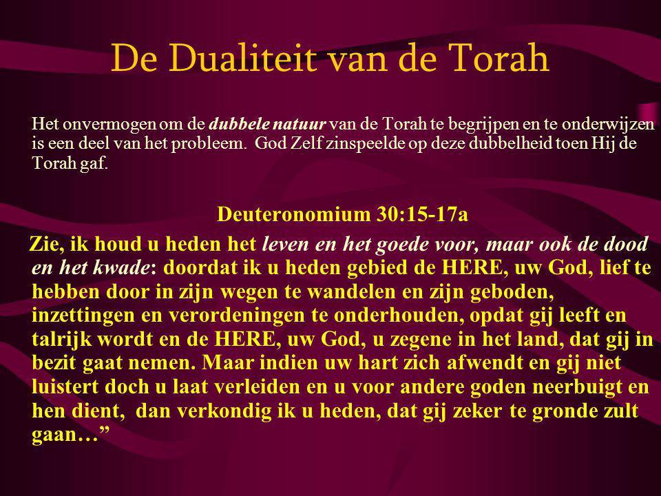 De Dualiteit van de Torah Het onvermogen om de dubbele natuur van de Torah te begrijpen en te onderwijzen is een deel van het probleem. God Zelf zinsp