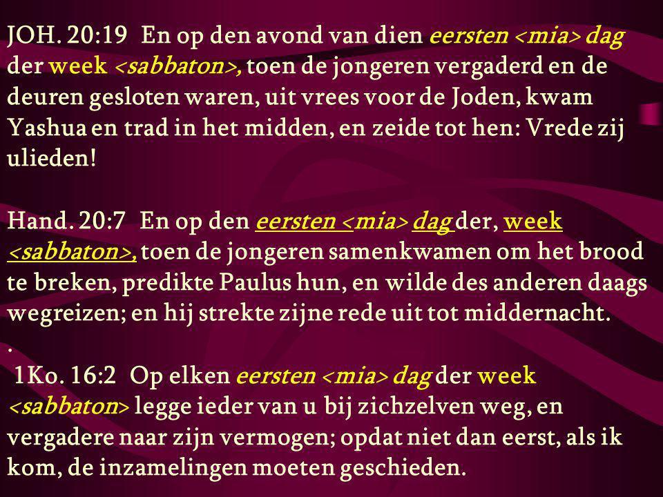 JOH. 20:19 En op den avond van dien eersten dag der week, toen de jongeren vergaderd en de deuren gesloten waren, uit vrees voor de Joden, kwam Yashua
