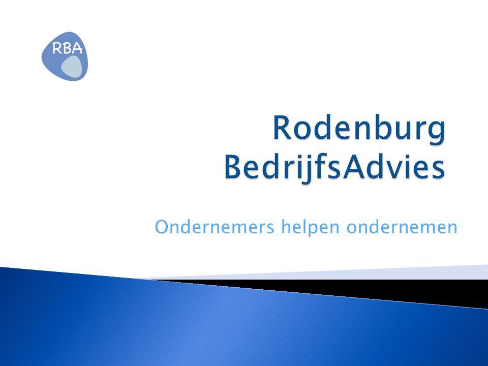 Historie Rodenburg BedrijfsAdvies ( RBA ) opgericht in 2009 werkt samen met een netwerk van specialisten 4 tot 6 junioradviseurs (studenten van de Haagse Hogeschool) en enkele freelance adviseurs ondernemersspreekuur, haalbaarheidsonderzoeken bedrijfseconomische trainingen en adviezen bedrijfseconomisch klankbord