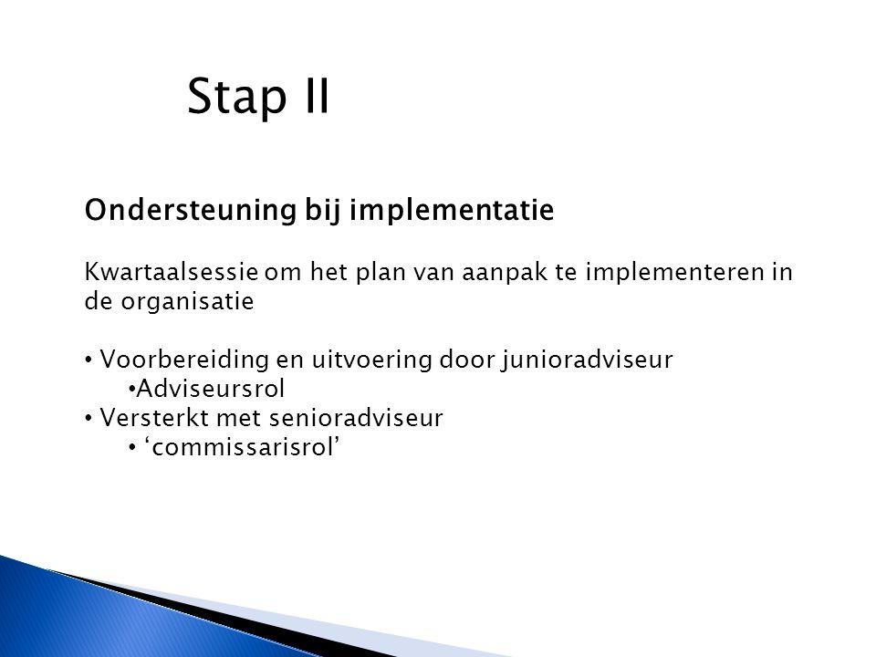 Stap II Ondersteuning bij implementatie Kwartaalsessie om het plan van aanpak te implementeren in de organisatie Voorbereiding en uitvoering door junioradviseur Adviseursrol Versterkt met senioradviseur 'commissarisrol'
