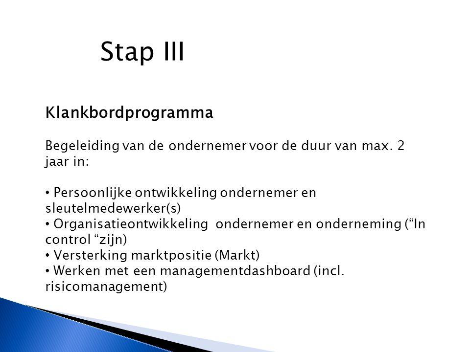 Stap III Klankbordprogramma Begeleiding van de ondernemer voor de duur van max.