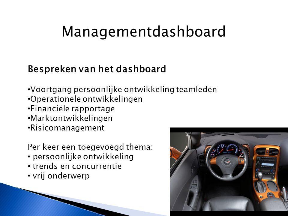 Managementdashboard Bespreken van het dashboard Voortgang persoonlijke ontwikkeling teamleden Operationele ontwikkelingen Financiële rapportage Marktontwikkelingen Risicomanagement Per keer een toegevoegd thema: persoonlijke ontwikkeling trends en concurrentie vrij onderwerp