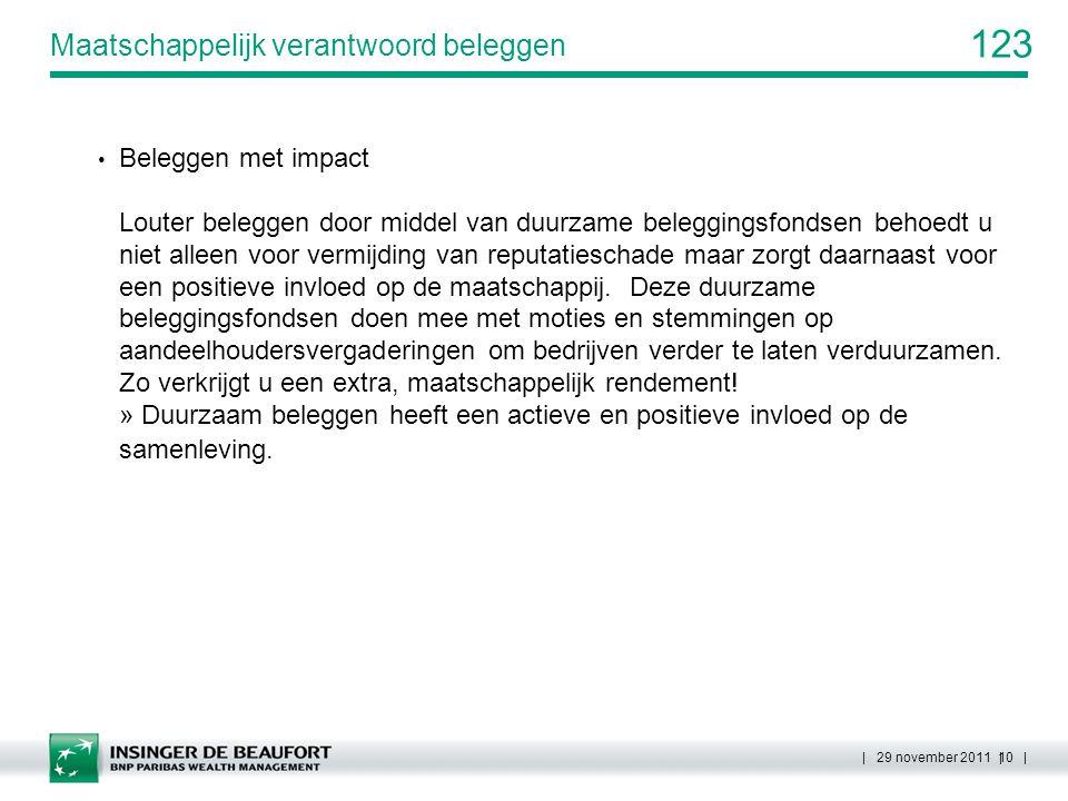 123 | 29 november 2011 | 10 | Maatschappelijk verantwoord beleggen Beleggen met impact Louter beleggen door middel van duurzame beleggingsfondsen beho