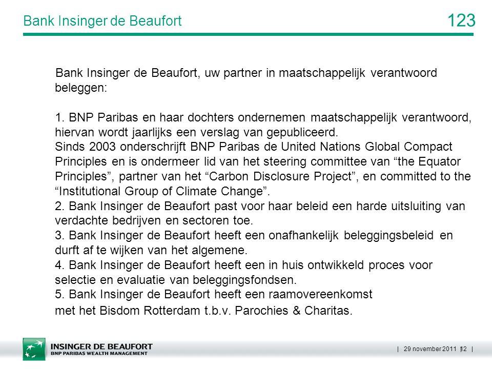 123 | 29 november 2011 | 12 | Bank Insinger de Beaufort Bank Insinger de Beaufort, uw partner in maatschappelijk verantwoord beleggen: 1. BNP Paribas