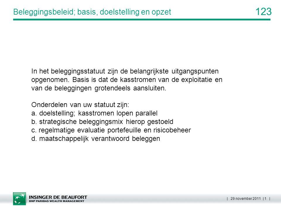 123 | 29 november 2011 | 2 | Doelstelling; kasstromen lopen gelijk op Voor een gedegen beleggingsbeleid dient de samenstelling van de beleggingen qua kasstromen (inkomsten en aflossingen) afgestemd te worden op de voorziene uitgaven.
