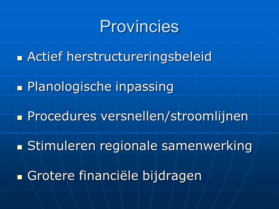 Provincies Actief herstructureringsbeleid Actief herstructureringsbeleid Planologische inpassing Planologische inpassing Procedures versnellen/strooml