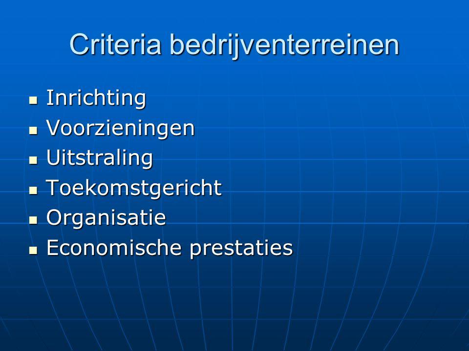 Criteria bedrijventerreinen Inrichting Inrichting Voorzieningen Voorzieningen Uitstraling Uitstraling Toekomstgericht Toekomstgericht Organisatie Orga