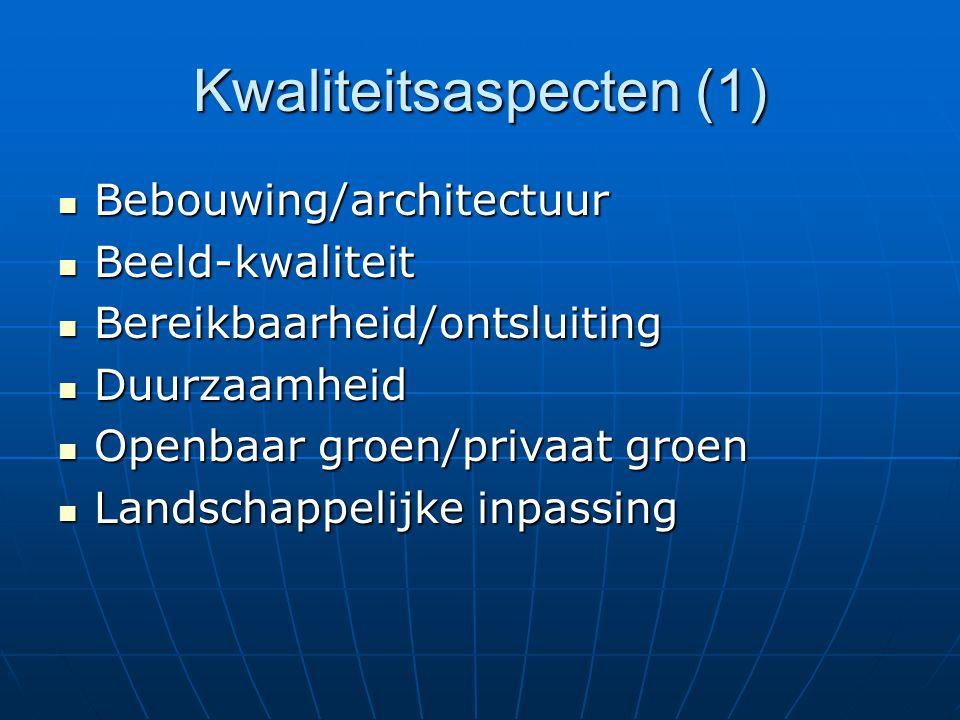 Kwaliteitsaspecten (1) Bebouwing/architectuur Bebouwing/architectuur Beeld-kwaliteit Beeld-kwaliteit Bereikbaarheid/ontsluiting Bereikbaarheid/ontslui