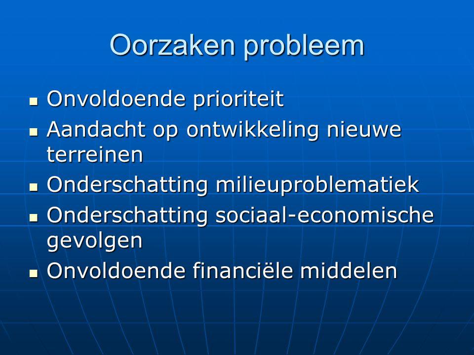 Oorzaken probleem Onvoldoende prioriteit Onvoldoende prioriteit Aandacht op ontwikkeling nieuwe terreinen Aandacht op ontwikkeling nieuwe terreinen On