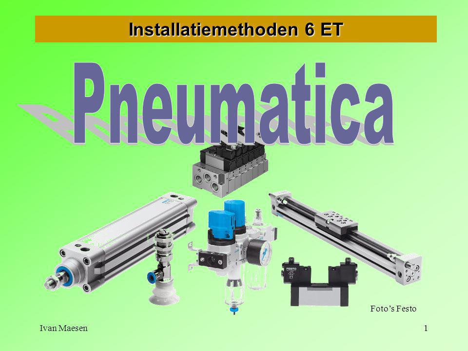 Ivan Maesen12        Pneumatica - Inleiding Druk, debiet en kracht DRUK 1 N/m2barkg/cm2 mm kwikdruk m waterdruk 1 Pa =10,00001 0,0000102 0,00750,000102 1 bar =100.00011,0275010,2 1 kg/cm2 =98.1000,981173610 1 mm Hg = 133 0,001330,0013610,0136 1 m H2O =9,8100,09810,173,61