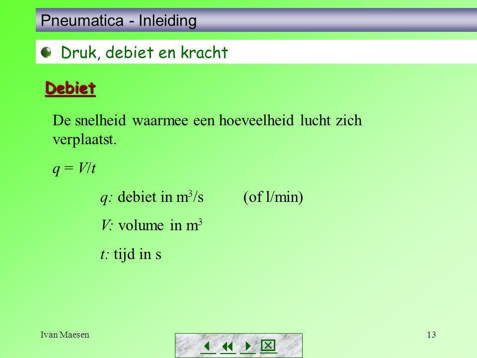 Ivan Maesen13        Pneumatica - Inleiding Druk, debiet en kracht Debiet De snelheid waarmee een hoeveelheid lucht zich verplaatst. q = V/t q