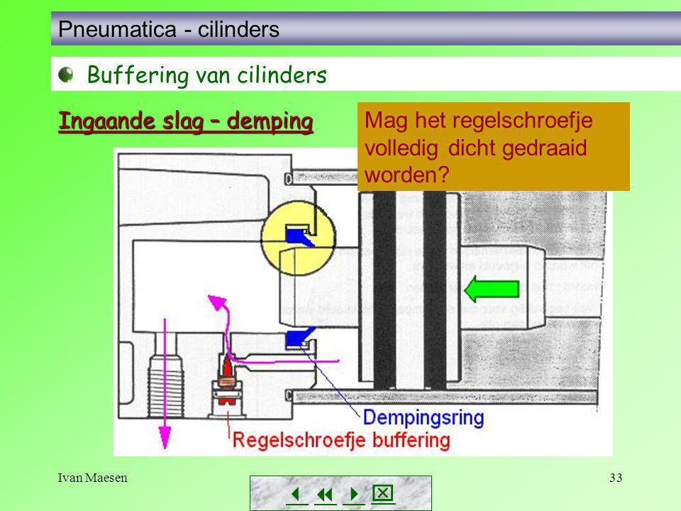 Ivan Maesen33        Pneumatica - cilinders Buffering van cilinders Mag het regelschroefje volledig dicht gedraaid worden? Ingaande slag – dem