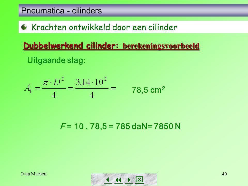 Ivan Maesen40        Pneumatica - cilinders Krachten ontwikkeld door een cilinder Dubbelwerkend cilinder: berekeningsvoorbeeld Uitgaande slag: