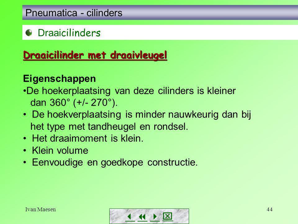 Ivan Maesen44        Pneumatica - cilinders Draai cilinders Eigenschappen De hoekerplaatsing van deze cilinders is kleiner dan 360° (+/- 270°)