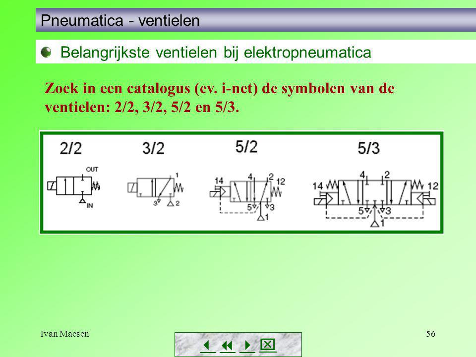 Ivan Maesen56        Pneumatica - ventielen Belangrijkste ventielen bij elektropneumatica Zoek in een catalogus (ev. i-net) de symbolen van de
