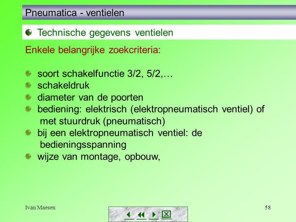 Ivan Maesen58        Pneumatica - ventielen Technische gegevens ventielen Enkele belangrijke zoekcriteria: soort schakelfunctie 3/2, 5/2,… sch