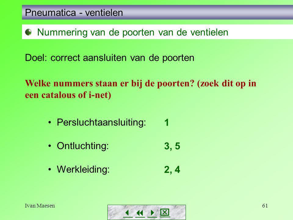 Ivan Maesen61        Pneumatica - ventielen Nummering van de poorten van de ventielen Doel: correct aansluiten van de poorten Welke nummers st