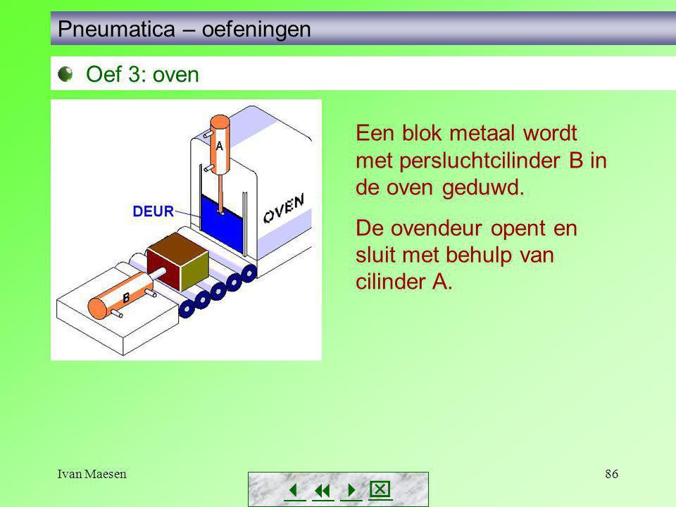 Ivan Maesen86        Pneumatica – oefeningen Oef 3: oven Een blok metaal wordt met persluchtcilinder B in de oven geduwd. De ovendeur opent en