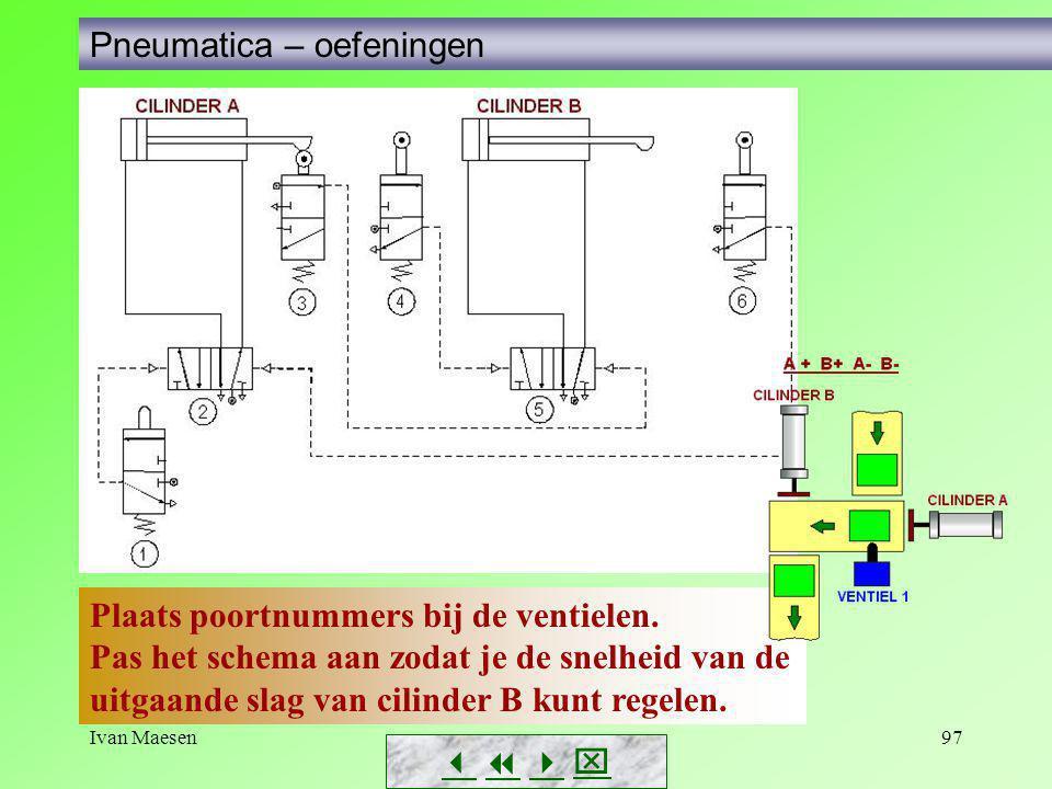 Ivan Maesen97        Pneumatica – oefeningen Plaats poortnummers bij de ventielen. Pas het schema aan zodat je de snelheid van de uitgaande sl