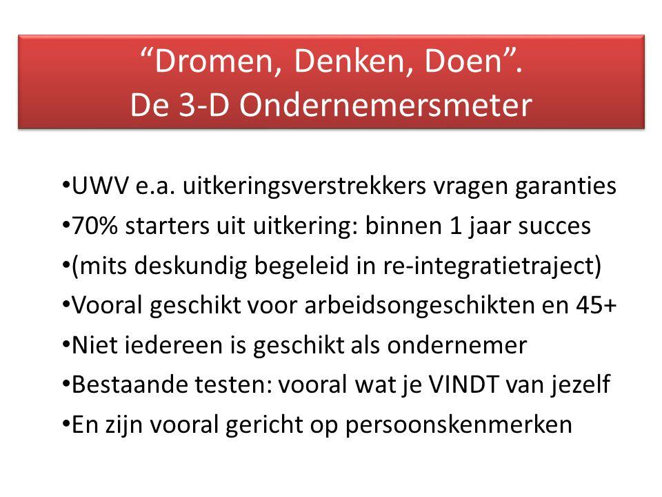 Dromen, Denken, Doen . De 3-D Ondernemersmeter UWV e.a.