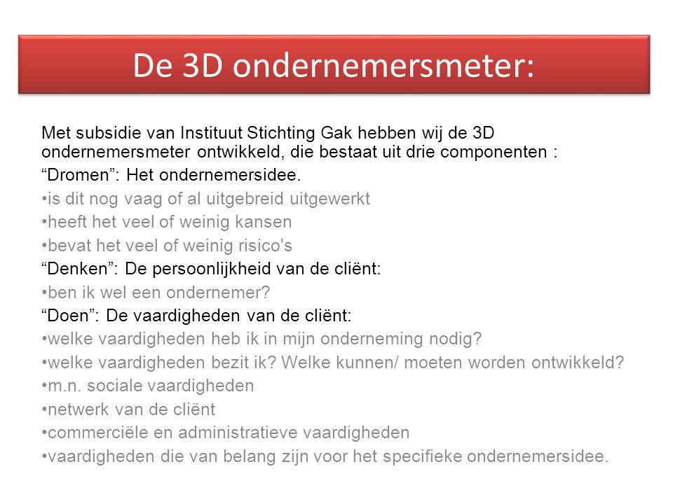 De 3D ondernemersmeter: Met subsidie van Instituut Stichting Gak hebben wij de 3D ondernemersmeter ontwikkeld, die bestaat uit drie componenten : Dromen : Het ondernemersidee.