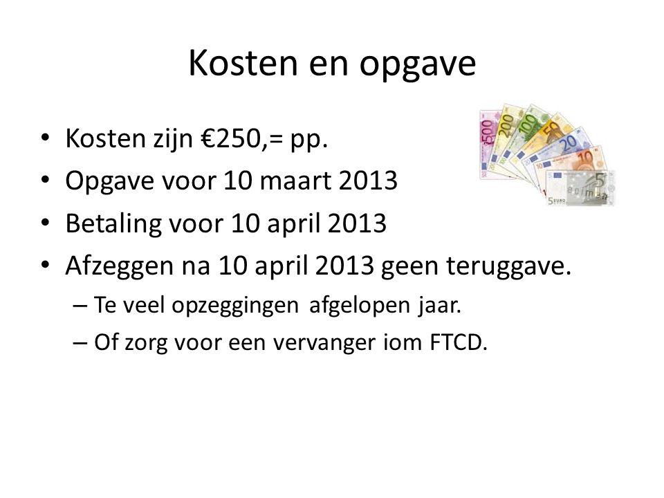 Kosten en opgave Kosten zijn €250,= pp.