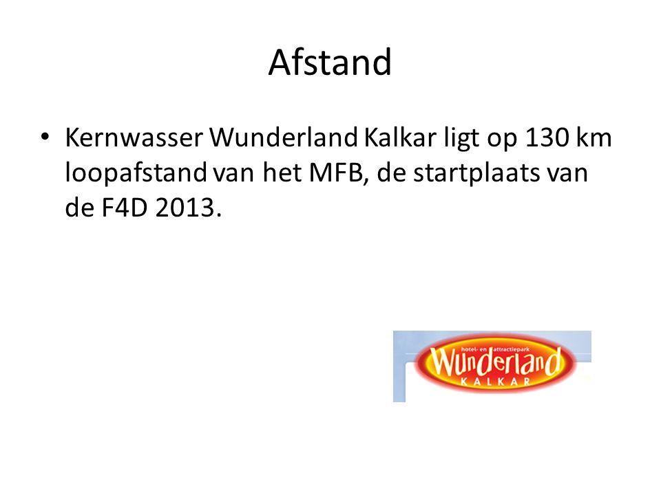 Afstand Kernwasser Wunderland Kalkar ligt op 130 km loopafstand van het MFB, de startplaats van de F4D 2013.