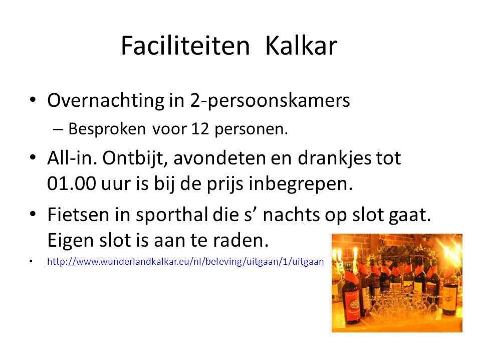FaciliteitenKalkar Overnachting in 2-persoonskamers – Besproken voor 12 personen.