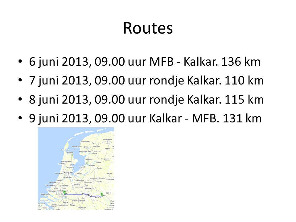 Routes 6 juni 2013, 09.00 uur MFB - Kalkar.136 km 7 juni 2013, 09.00 uur rondje Kalkar.
