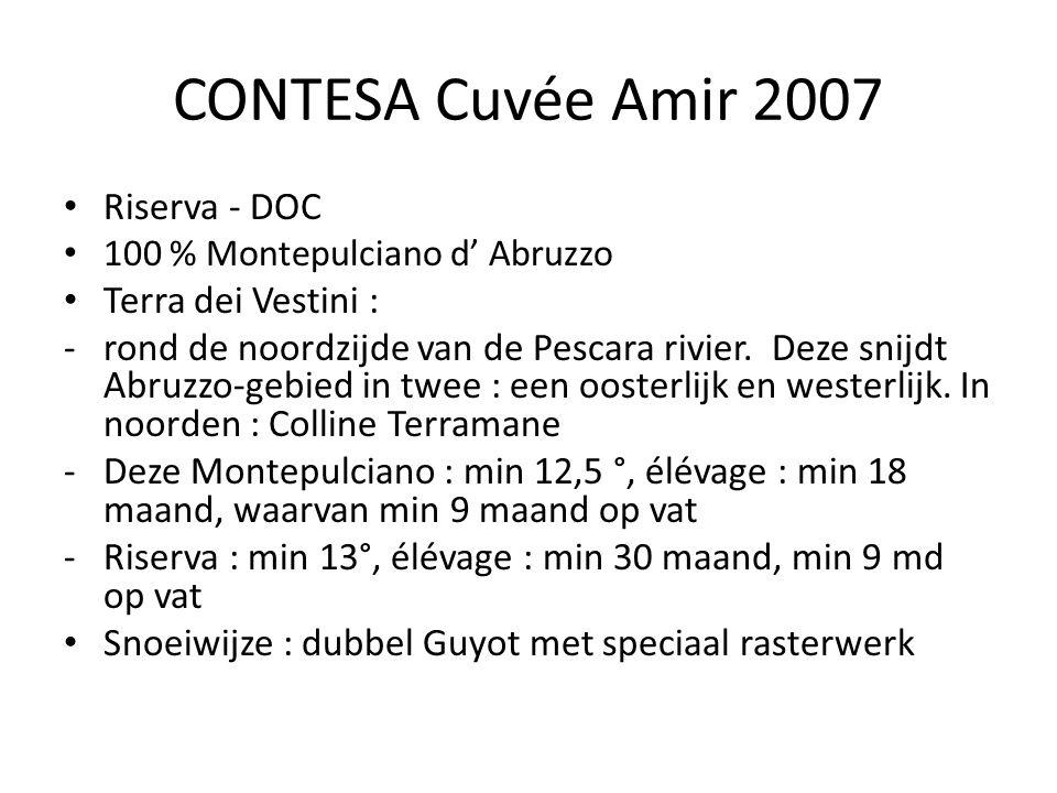 CONTESA Cuvée Amir 2007 Riserva - DOC 100 % Montepulciano d' Abruzzo Terra dei Vestini : -rond de noordzijde van de Pescara rivier.