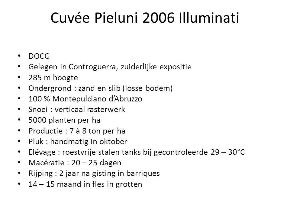 Cuvée Pieluni 2006 Illuminati DOCG Gelegen in Controguerra, zuiderlijke expositie 285 m hoogte Ondergrond : zand en slib (losse bodem) 100 % Montepulciano d'Abruzzo Snoei : verticaal rasterwerk 5000 planten per ha Productie : 7 à 8 ton per ha Pluk : handmatig in oktober Elévage : roestvrije stalen tanks bij gecontroleerde 29 – 30°C Macératie : 20 – 25 dagen Rijping : 2 jaar na gisting in barriques 14 – 15 maand in fles in grotten