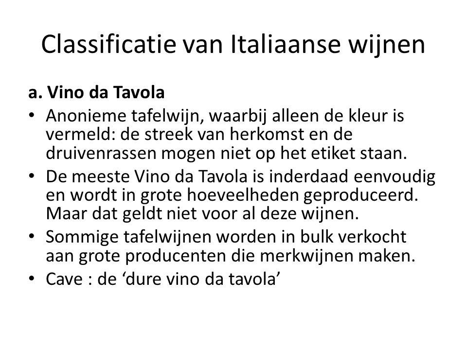 Classificatie van Italiaanse wijnen a.