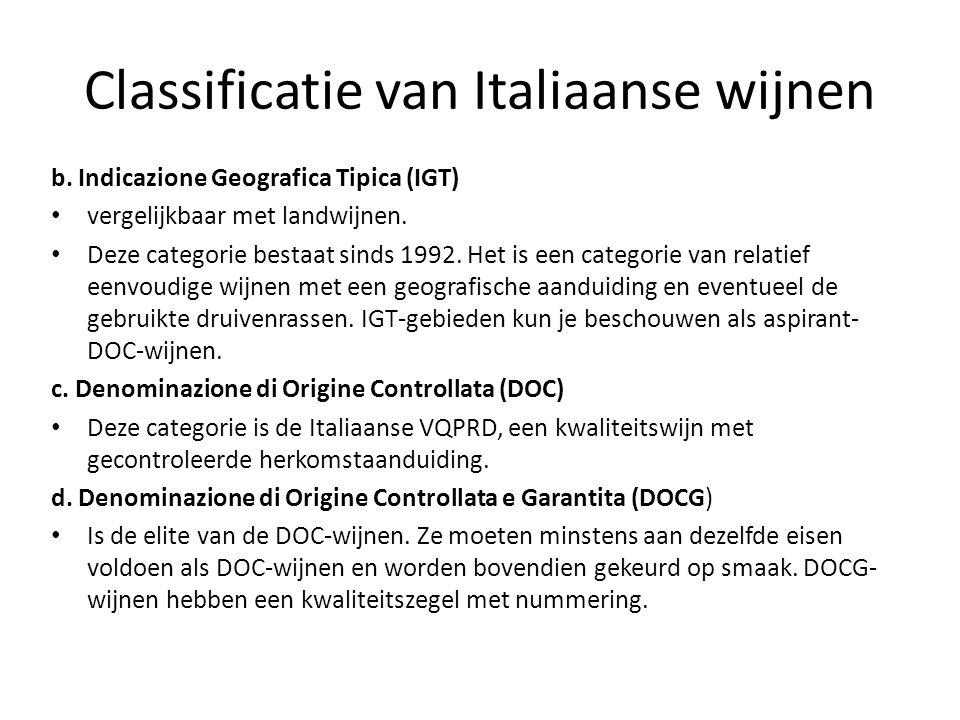 Classificatie van Italiaanse wijnen b.