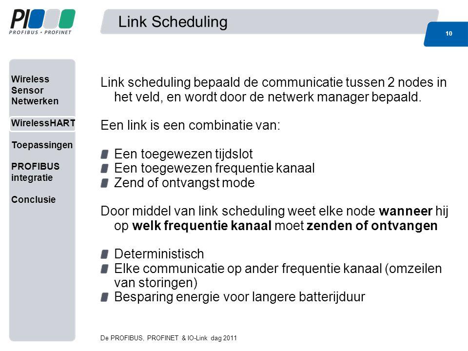 Wireless Sensor Netwerken WirelessHART Toepassingen PROFIBUS integratie Conclusie Link Scheduling 10 De PROFIBUS, PROFINET & IO-Link dag 2011 Link sch
