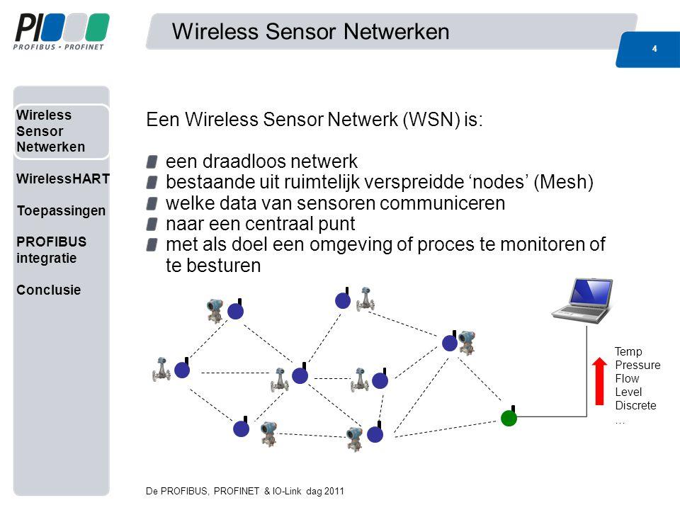 Wireless Sensor Netwerken WirelessHART Toepassingen PROFIBUS integratie Conclusie Wireless Sensor Netwerken 5 De PROFIBUS, PROFINET & IO-Link dag 2011 Karakteristieke eigenschappen van WSN's: Laag energie verbruik (= langere batterij levensduur) Bestand tegen extreme omstandigheden Bestand tegen uitval van nodes Dynamische topologie Schaalbaar WSN's worden o.a.