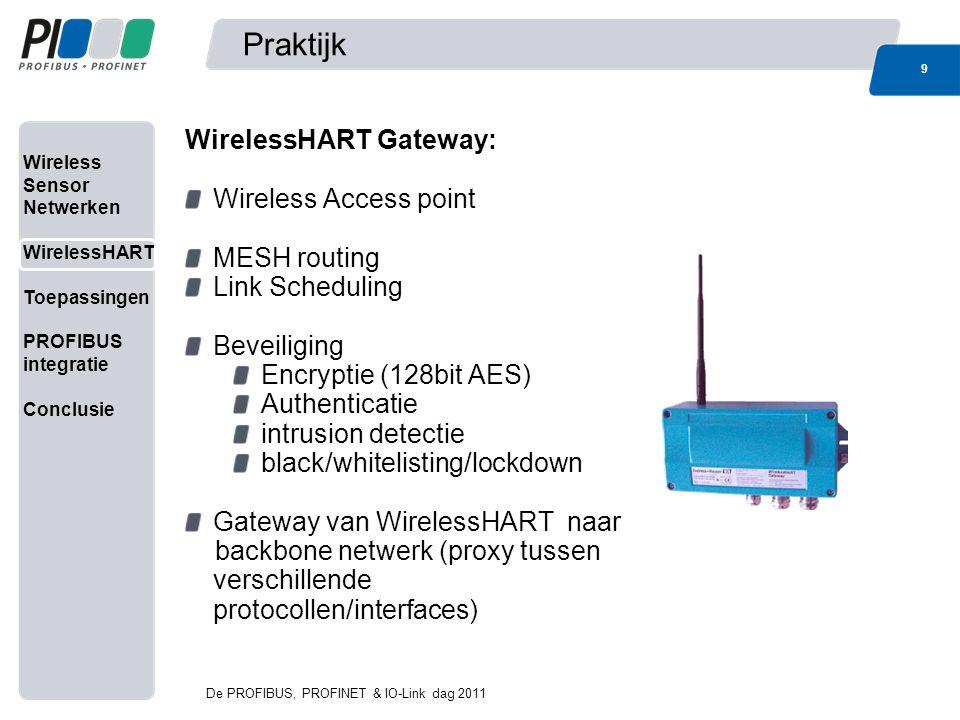 Wireless Sensor Netwerken WirelessHART Toepassingen PROFIBUS integratie Conclusie Link Scheduling 10 De PROFIBUS, PROFINET & IO-Link dag 2011 Link scheduling bepaald de communicatie tussen 2 nodes in het veld, en wordt door de netwerk manager bepaald.