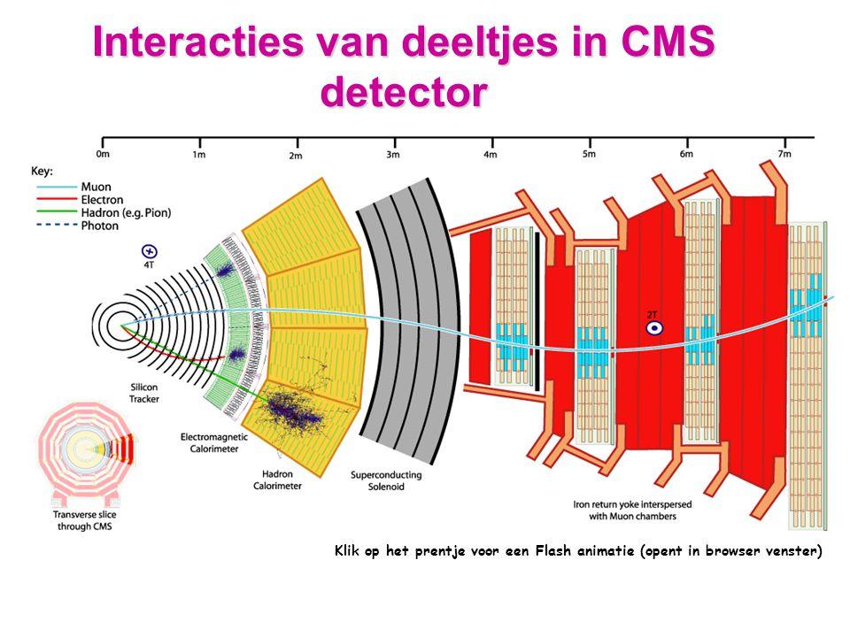 Interacties van deeltjes in CMS detector Klik op het prentje voor een Flash animatie (opent in browser venster)