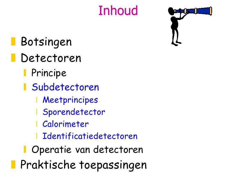 Inhoud zBotsingen zDetectoren yPrincipe ySubdetectoren xMeetprincipes xSporendetector xCalorimeter xIdentificatiedetectoren yOperatie van detectoren zPraktische toepassingen