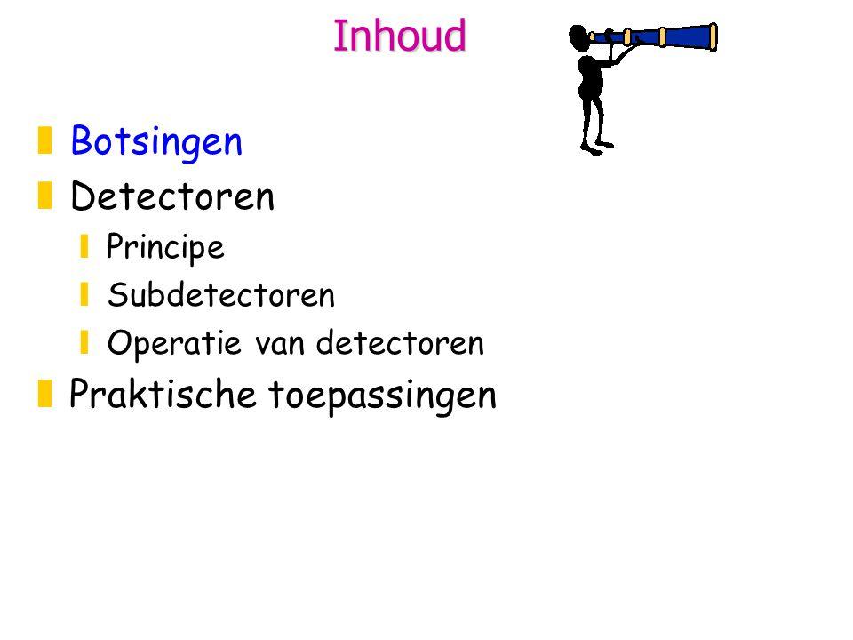 Inhoud zBotsingen zDetectoren yPrincipe ySubdetectoren yOperatie van detectoren xVoorbeeld CMS detector xNood aan statistiek xTrigger + DAQ zPraktische toepassingen