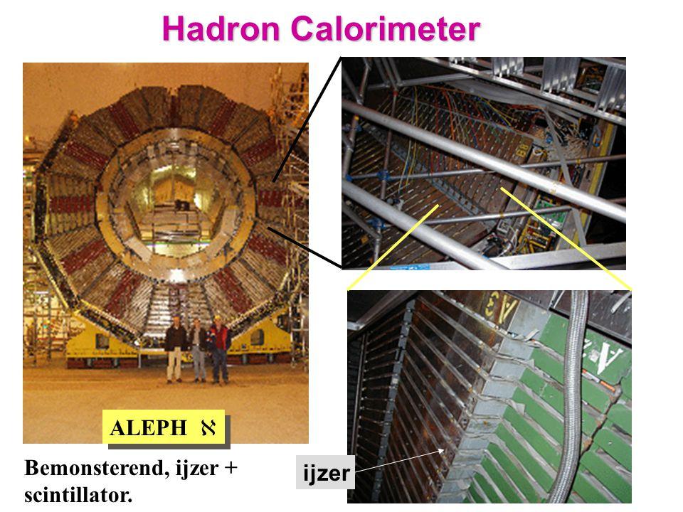 ALEPH  ijzer Hadron Calorimeter Bemonsterend, ijzer + scintillator.