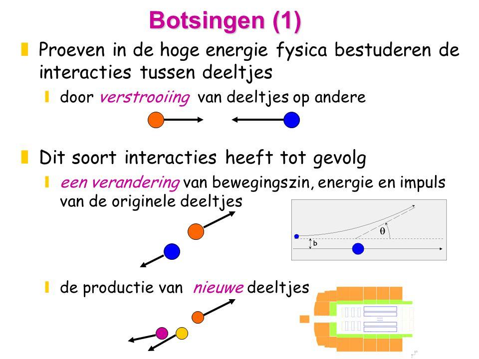 Botsingen (1) zProeven in de hoge energie fysica bestuderen de interacties tussen deeltjes ydoor verstrooiing van deeltjes op andere zDit soort interacties heeft tot gevolg yeen verandering van bewegingszin, energie en impuls van de originele deeltjes yde productie van nieuwe deeltjes